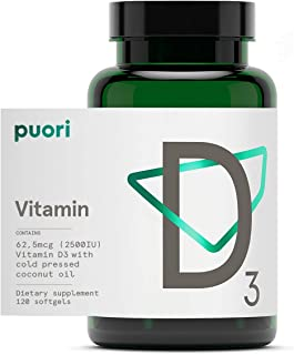 Puori Vitamin D3 with Organic Coconut Oil - 120 x 2500 IU - for Healthy Muscle Function, Bone Health, Immune Support and C...