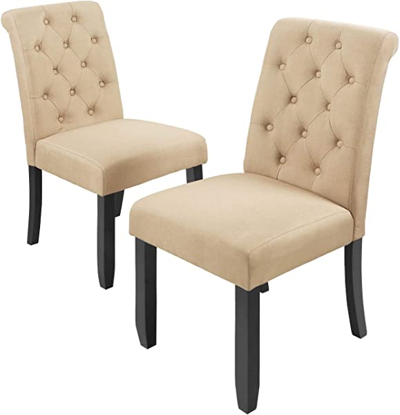 WLIVE Set Of 2 Fabric Dining Chair Button Tufted Parsons Chair Upholstered Side Chairs With Wood Legs
