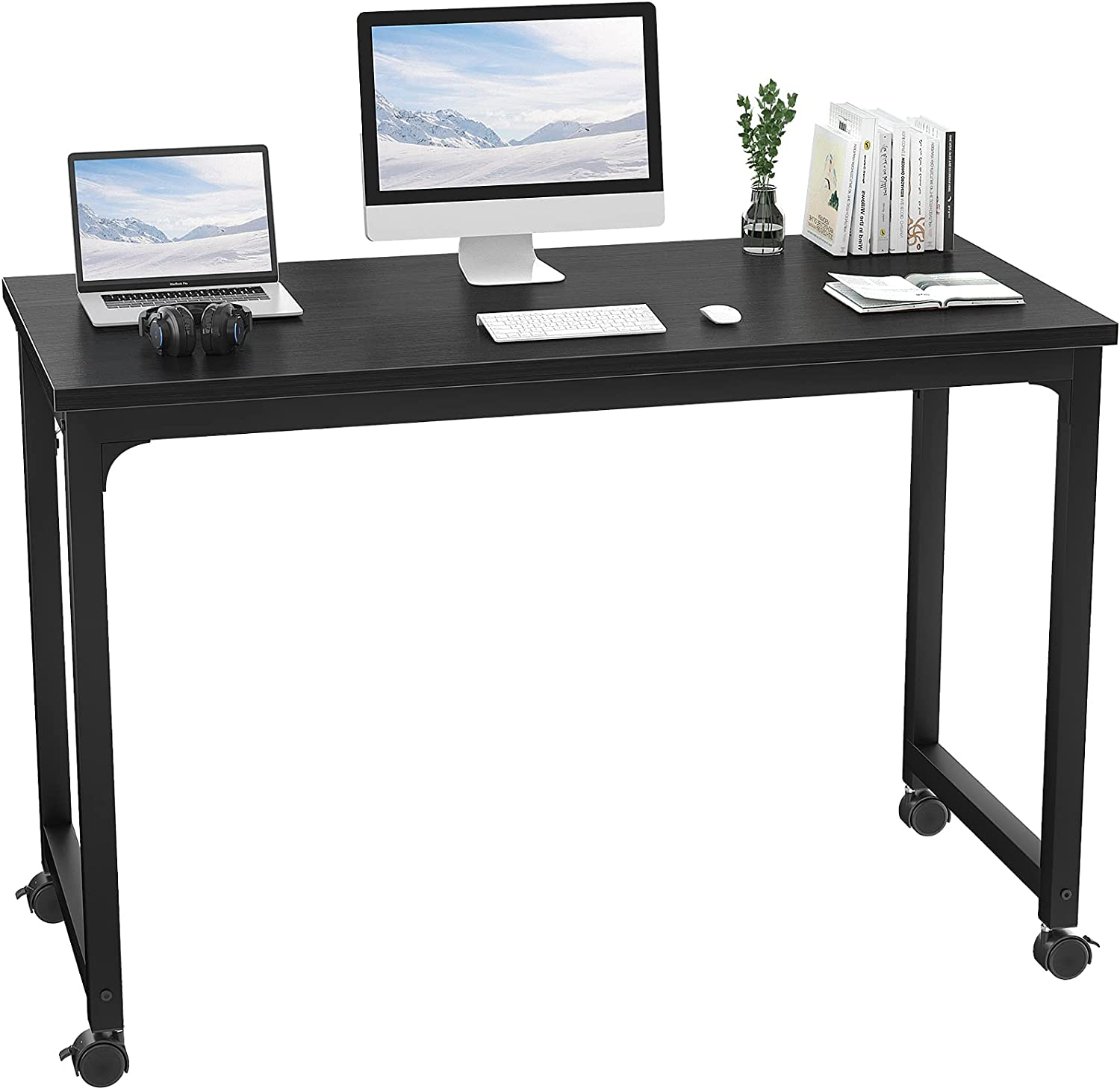 Foxemart Rolling Desks with Wheels, 47 Inch Portable Computer Desk with Locking Caster, Modern Mobile Writing Study Home Office Desk, Movable Sturdy Laptop Rolling Table, Black