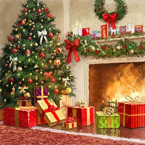 Zhaokunpeng 5D Diamant Schilderijen Kerstboom Geschenk Open haard Volledige Boor door Aantal Kits voor Volwassenen DIY Strass Geplakte Verf met Diamant Set Kunst Ambachtelijke Decoraties (14X14Inch)