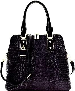 Classy Padlock Patent Glossy Crocodile Print Vegan Leather Structured Dome Satchel Purse Handbag