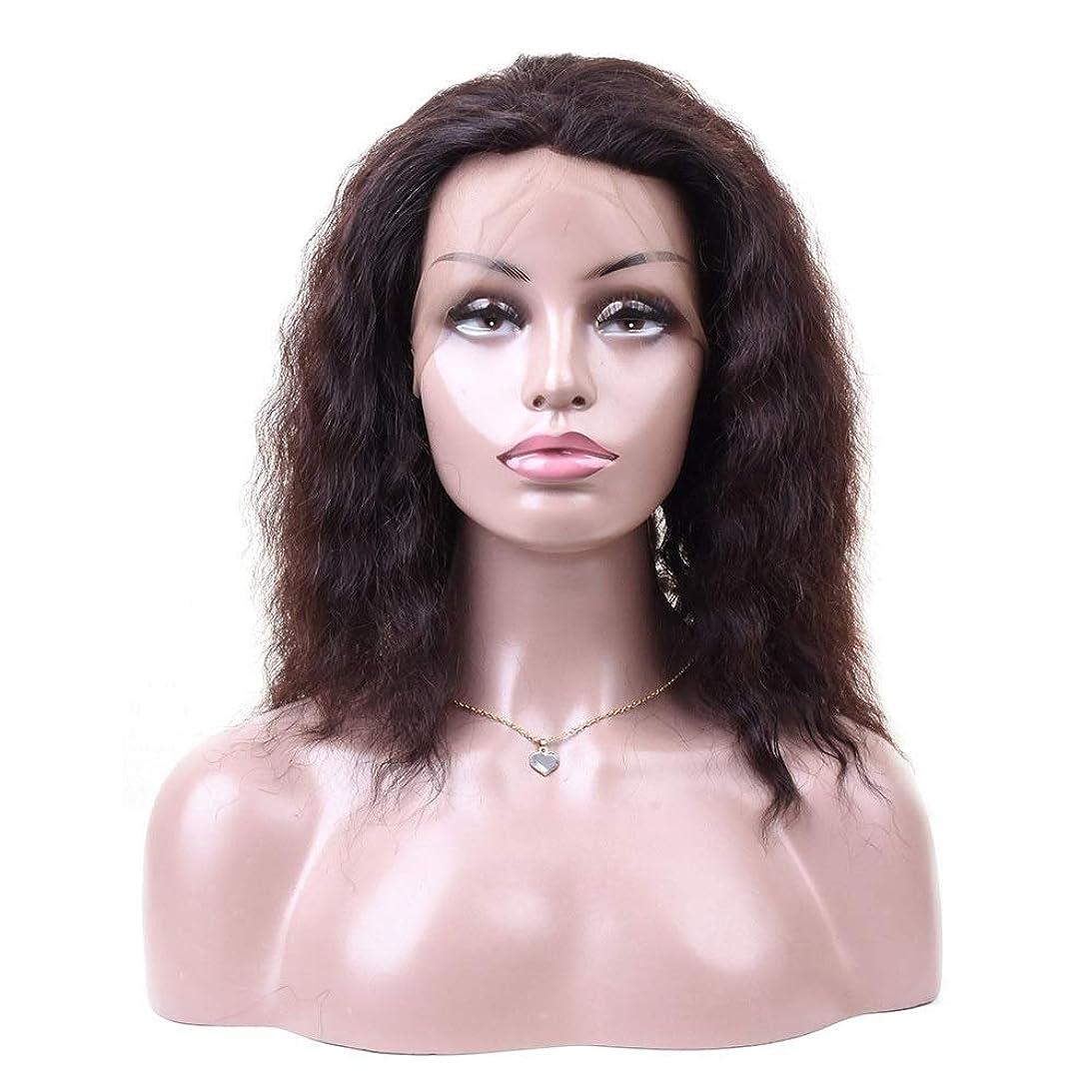 かる文字贈り物WASAIO 女性の自然なレースのヘアエクステンションクリップの正面閉鎖難解ウェーブレース前頭人毛ウィッグUnseamed (色 : 黒, サイズ : 20 inch)