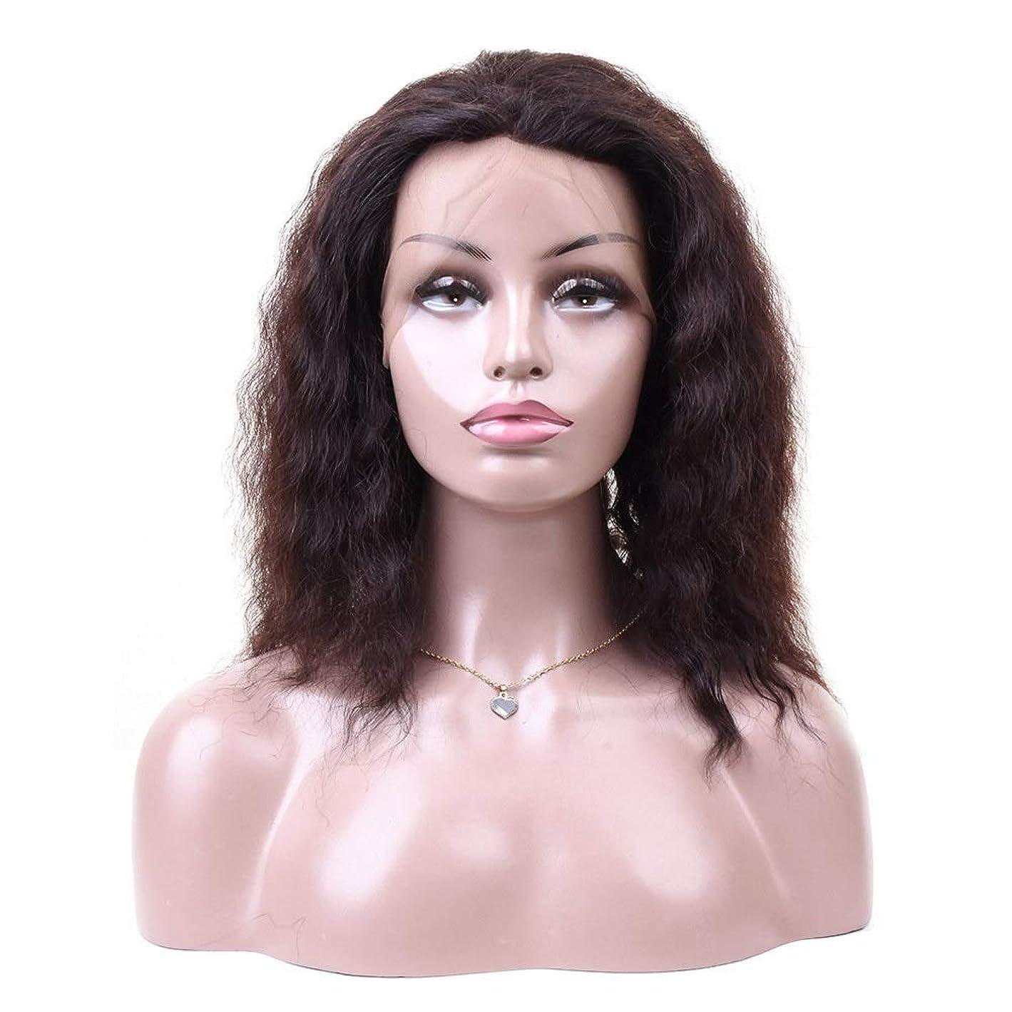 伝統的はさみ本当のことを言うとYAHONGOE 360レース前頭閉鎖ディープウェーブレース前頭人間の髪の毛のかつら自然な女性の合成かつらレースのかつらロールプレイングかつら (色 : 黒, サイズ : 12 inch)