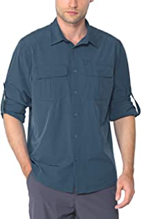 Nonwe Men's Hiking Camping Shirts Roll-Up Long Sleeve Quick Dry
