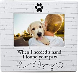 BANBERRY DESIGNS Dog Lover Picture Frame - When I Needed a Hand I Found Your Paw Ceramic Photo Frame – Pet Photo Displayer for Tabletop, Desk- Gifts for Dog or Cat Lovers