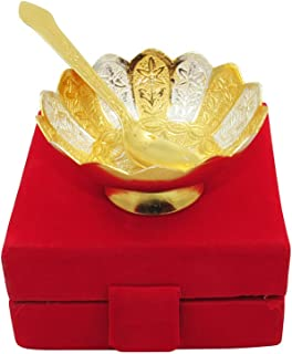 GoldGiftIdeas 3.5 Inch Gold-Silver Plated Lotus Serving Bowl, Brass Bowl for Gift, Return Gift for Wedding and Housewarming