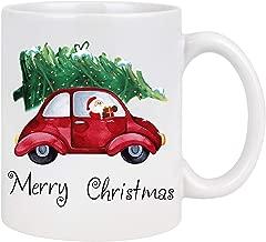 Funny Christmas Coffee Mug with Christmas Santa Claus Drive Red Car with Xmas Tree Novelty Christmas Ceramic Mug Tea Cup Christmas Festival Gift for Family Friends White 11 Ounce