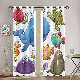 DONEECKL Whale Black Out Window Curtain 2 Panel Group of Underwater Animals Sea Otter Slug Snail Summer Day Art Illustration Soundproof Shade W42 x L84 Inch Blue Purple Green