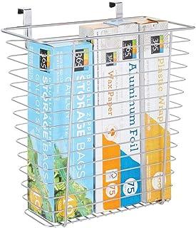 mDesign panier de rangement – panier en métal pratique pour papier aluminium, sacs plastique et autres – rangement cuisine...