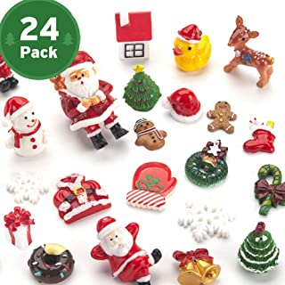 Sooez Mini Christmas Ornaments, Set of 24 Cute Miniature Resin Christmas Tree Ornament Figures Advent Calendar Fillers, Durable & Well-Crafted 3-D Figurines with Gold Loops for Easy Hanging