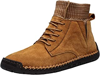 LONGDAY Mens Leather Plain Toe Lace Up Apache Combat Ankle BootsMen's Motorcycle Boots Oxford Dress Boot