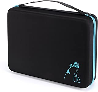 Hipiwe 108 Essential Oils Carrying Case Holds 5ml, 10ml, 15ml Bottles Hard Shell Exterior EVA Essential Oils Storage Organzier Bag with Foam Insert and Carrying Handle (Black+Blue 108)