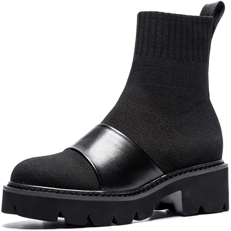 HRN Damen Martin Stiefel Leder Rundkopf Muffin Bottom gestrickt flach flach flach mit niedrigen Stiefeln Set Fuß schwarz Kurze Stiefel neu,39EU f43a53