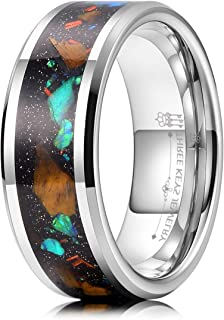 Mens Tungsten Rings 8mm Galaxy Series Imitated Meteorite Opal Inlay Unisex Wedding Bands