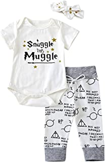 Baby Boys Girls Letter Print Short Sleeve Romper Bodysuit + Long Pants + Headband Outfits Set
