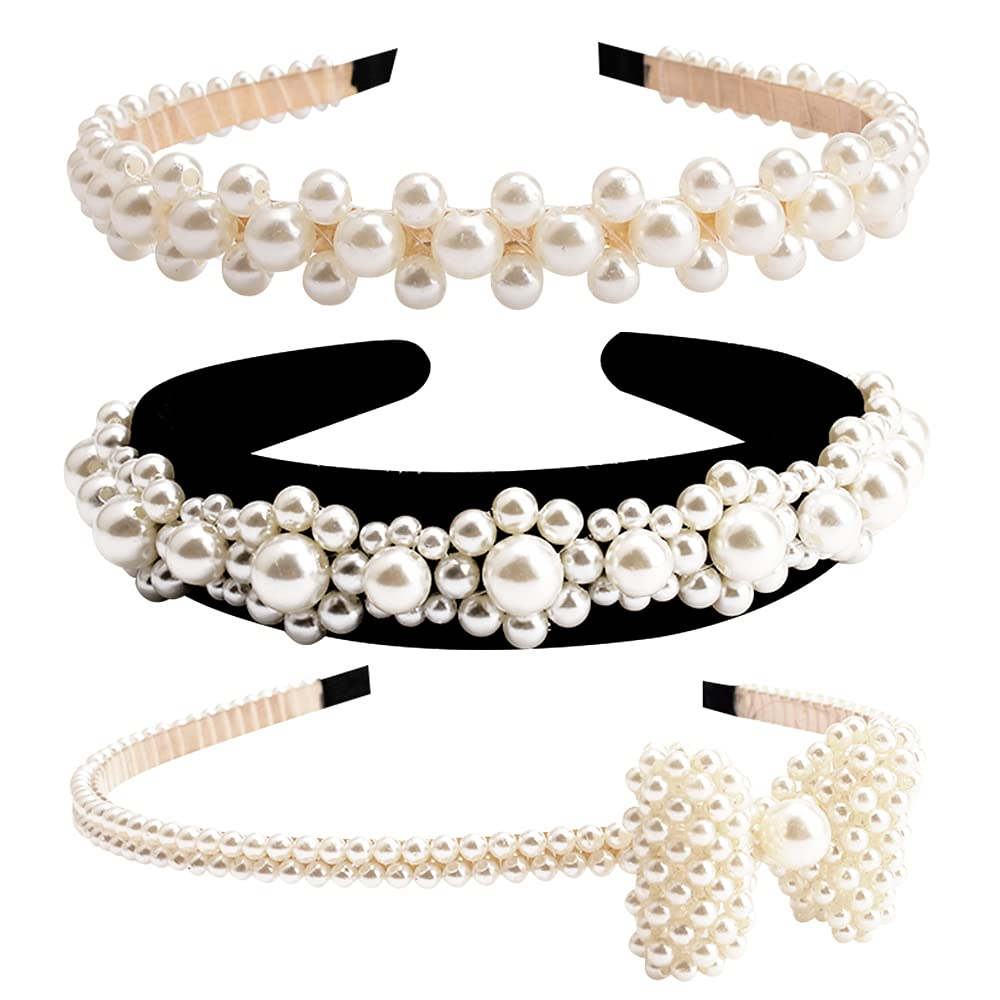 Pearl Headbands for Women, Pearl Headbands for Wedding Fashion Outfit Anniversary Prom , Pearl Headbands for Bride, Pearl Hair Accessories Multiple Pearl Rows Headbands for Women, 3 Style