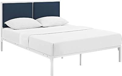 Modway Della Fabric Bed, King, White Azure