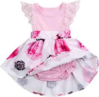 Newborn Infant Baby Girls Floral Dress Flutter Lace Sleeve Skirts Ruffle Dresses Summer Outfits