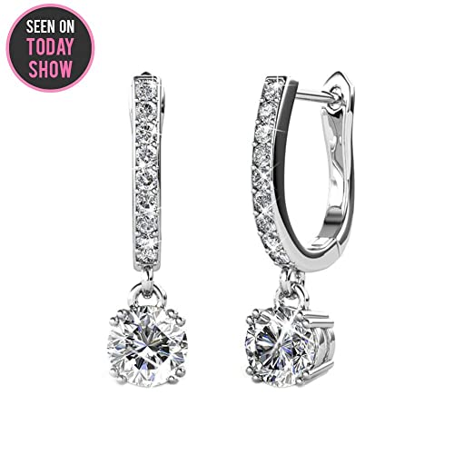 Cate   Chloe McKenzie 18k White Gold plated brass with Swarovski Solitaire  Crystals Dangle Channel Set ae7c01295fa0