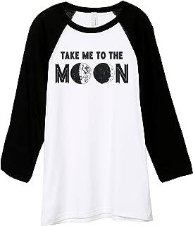 Take Me to The Moon Unisex 3/4 Sleeves Baseball Raglan T-Shirt Tee White Black