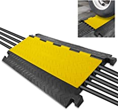 "Durable Cable Protective Ramp Cover - Supports 33000lbs Five Channel Heavy Duty Cord Protection w/Flip-Open Top Cover, 31.5"" x 17.5"" x 1.77"" Cable Concealer for Indoor Outdoor Use - Pyle PCBLCO109"