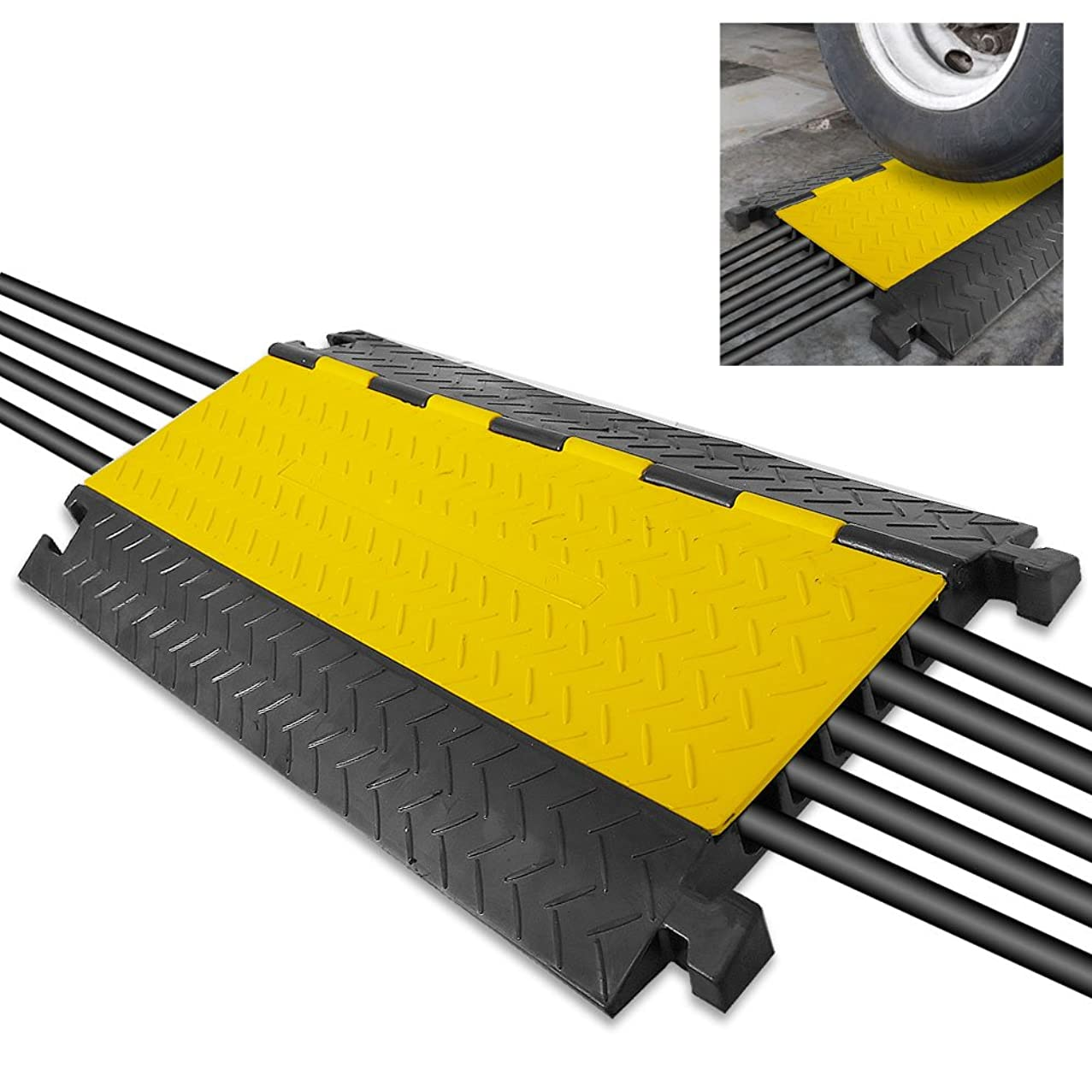 """Durable Cable Protective Ramp Cover - Supports 33000lbs Five Channel Heavy Duty Cord Protection w/Flip-Open Top Cover, 31.5"""" x 17.5"""" x 1.77"""" Cable Concealer for Indoor Outdoor Use - Pyle PCBLCO109"""