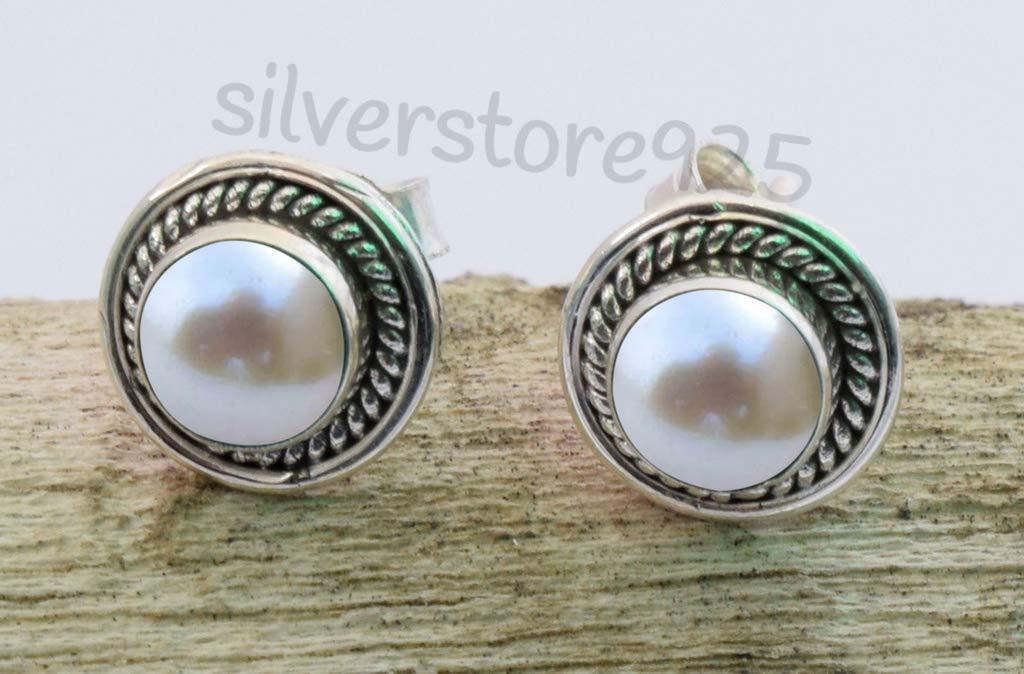 Selling rankings Sea overseas White Pearl Post Stud Earrings Pretty - 925 Silver Sterling