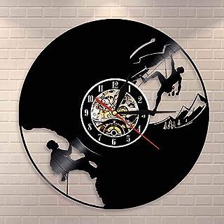 クリフハンガーロッククライミングウォールクロックエクストリームスポーツマウンテンクライミングビニールレコードウォールクロックギフトクライミングラバークライマー