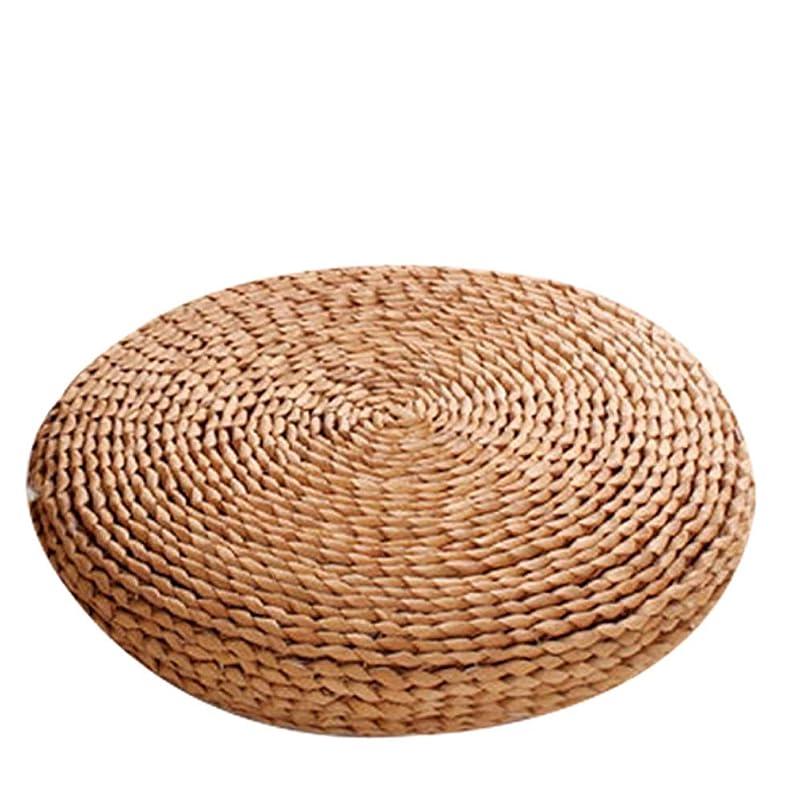 オーバーコートラダ思い出すLEKING 座布団 たたみ クッション チュラル 自然素材 編んだざぶと 爽やか 円座 丸型 和風 和室 ヨガ 瞑想
