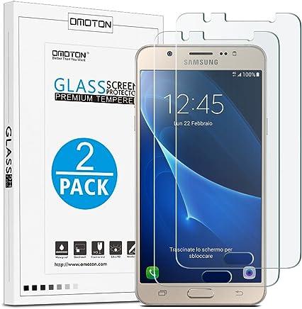 Samsung Galaxy J5 2016 Protection Ecran Verre Trempé [9H Dureté, Sans Bulles] OMOTON Film Protecteur Samsung Galaxy J5 2016 (5.2 Pouces)