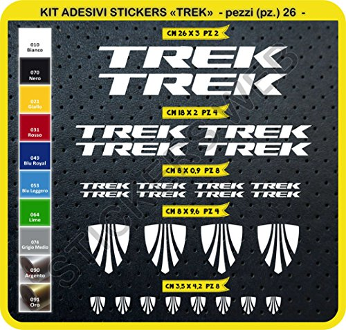 Adesivi Bici Trek Kit Adesivi Stickers 26 Pezzi -Scegli SUBITO Colore- Bike Cycle pegatina cod.0115 (Bianco cod. 010)
