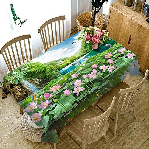 Nappe 3D Fleurs roses Paysage vert Rectangulaire Épaissie Étanche à la poussière Cuisine Le Picnic Décoration Pratique Couvercle supérieur de la table Différentes tailles , k
