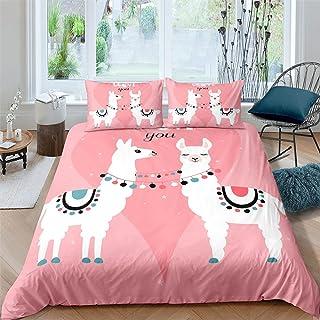 dsgsd Parure de lit avec housse de couette en microfibre, Rose dessin animé mouton Roi: 220x240cm Ensemble de literie mode...