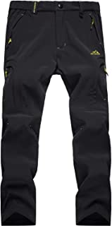 MAGCOMSEN Men's Winter Fleece Lined Windproof Softshell Hiking Mountain Ski Pants with 5 Zip Pockets