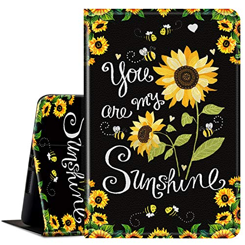 Case for All Amazon Kindle Fire 7 Tablet (9th/7th/5th Generation, 2019/2017/2015 Version), Multi-Angle Anti Slide Folio Stand Smart Cover for Amazon Kindle Fire 7 inch- You are My Sunshine Sunflower