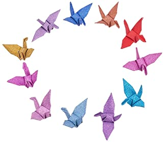 WANDIC 折り紙クレーン, 50個 手作りの二つ折り 折り紙の鶴 ストリングガーランド 結婚式のための パーティー 背景 家の装飾, キラキラ混合色