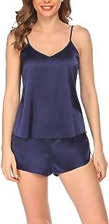 Mujer Conjunto de Pijama Satén Corto Camisón Sin Mangas Pijama de Camisola Camiseta de Tirantes Sexy Ropa de Dormir Verano Cómodo