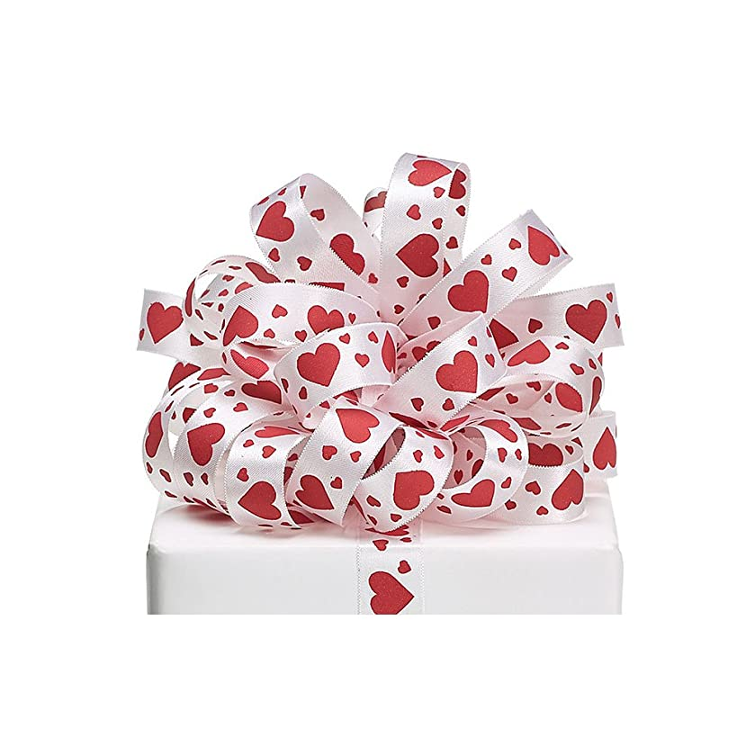 Burton & Burton Red Satin White Hearts Ribbon