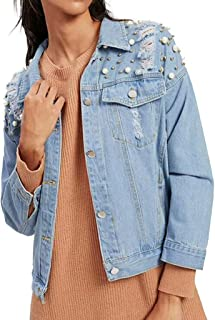 Rosatro Women Denim Jackets Button Full Sleeve Pearl Beading Printed Jeans Overcoat Denim Open Front Relax Fit Jacket