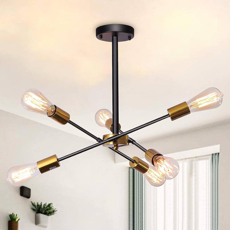 6-Light Modern lowest Popular overseas price Sputnik Chandelier with Rotatable Lamp Semi Arms