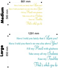Have I Told You Lately That I Love You (Van Morrison Lyric Wall Decal Sticker Quote (Color: Metallic Silver Size: Large)