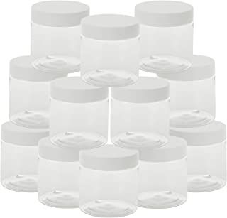 HomeNove Slime Containers with Lids - Clear 8 Ounce Plastic Container BPA-Free Plastic Jar Slime Supplies Kit 12 Pack, Slime Containers 8 Ounce For Art Paint Storage, Scrubs, Lotions and Creams