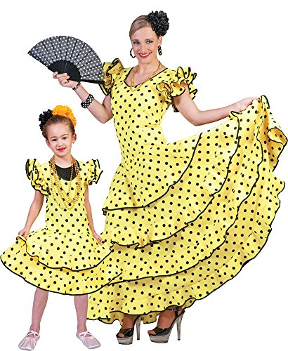 Flamenco Kleid zum Samba Kostüm für Mädchen Gr. 140 - Spanierin Brasilianerin Länderfasching Verkleidung