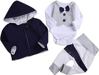 Newbron Infant Baby Boys'3 Piece Pant,Bodysuit,Coat Outfit Set