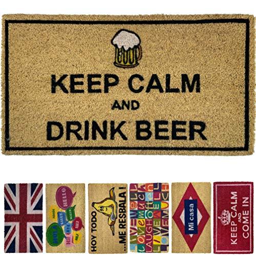 LucaHome - Felpudo de Coco Natural 70x40 con Base Antideslizante, Felpudo de Coco Divertido Keep Calm and Drink Beer,Felpudo Absorbente Entrada casa, Ideal para Puerta Exterior o Pasillo