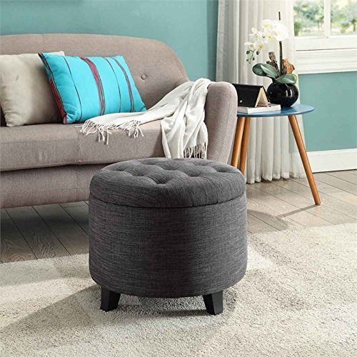 Convenience Concepts Designs4Comfort Round Ottoman, Gray Fabric
