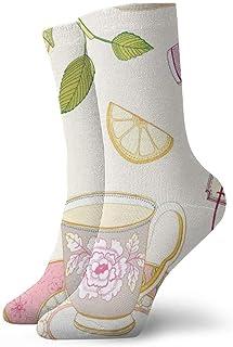 ASS, Pack de calcetines de vestir unisex Calcetines de rosas de té Naranja Divertidos calcetines de poliéster