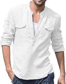 YYG Men Solid Cotton Linen Long Sleeve Button Down Shirt Pocket Casual Shirt