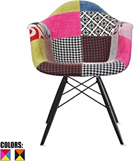 2xhome Mid Century Modern Arm Chair with Black Wood Legs, Patchwork A Fabric