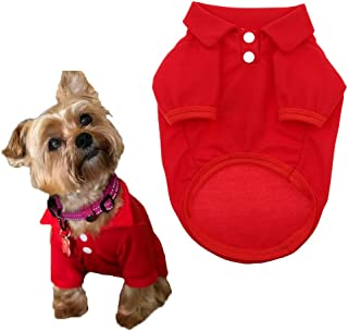 Petea Dog Shirts Pet Puppy Cotton Polo Shirt Basic T-Shirt Clothes for Dogs and Cats